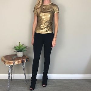 [Michael Kors] Gold Glitter Sequin Holiday Top XXS